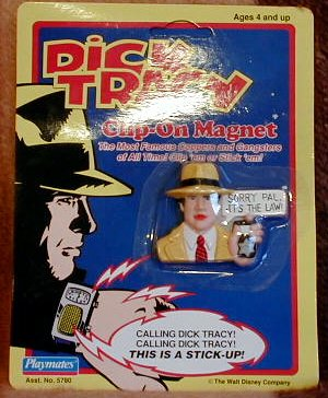 Disney's Dick Tracy Collectable Magnets, Dick Tracy, Steve the Tramp, Lips Manlis, Al Big Boy Caprice, Prune Face, Sam Catchem on Magnet Clip(1990)