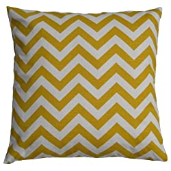 JinStyles Cotton Canvas Chevron Striped Accent Decorative Throw Pillow Cover (Yellow & White Square)