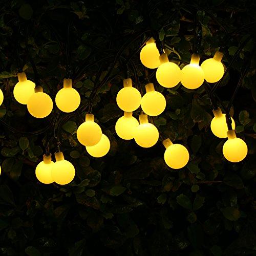 Balkon-Garten-Beleuchtung-mit-30-LEDs-Birnen-BOHMAIN-Solar-LED-Lichterketten-2-Modi-Lichtschlauch-fr-Innen-und-Auenbeleuchten-Weichnachts-Deko-Warmwei