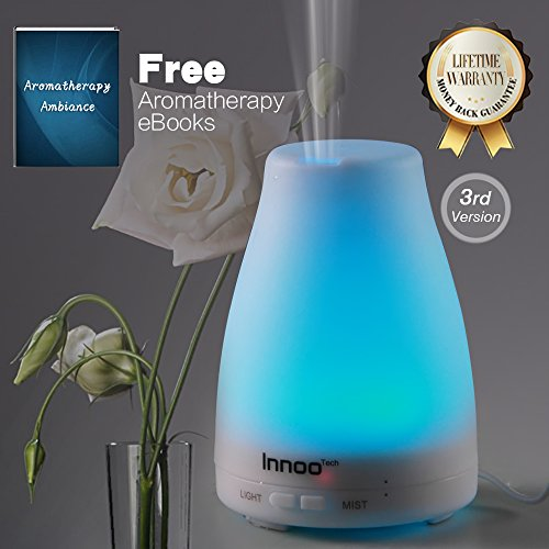 Essential Oil Diffuser, 3rd Portrayal Cool Mist Aroma Humidifier Aromatherapy eBooks Included with Adjustable Mist Mode Waterless Auto Cut off b separate-off and 7 Color LED Lights Changing for Bedroom Office Home