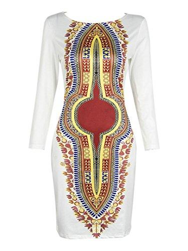 Choies Women's White Contrast Folk Print 3/4