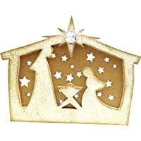 "Christmas Themed White And Gold Tea Light Holder Symbolises The Nativity Of Infant Jesus: Home Décor - 7"" X 2.5..."