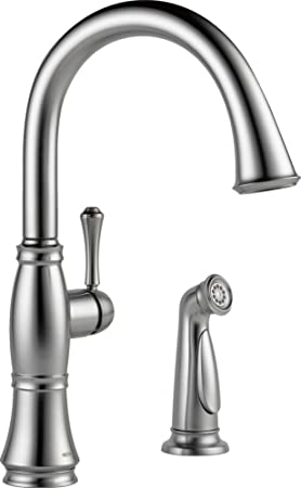 Delta Faucet 4297-AR-DST Cassidy Single Handle Kitchen Faucet with Spray, Arctic Stainless Steel