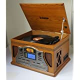 Steepletone Lancaster Nostalgia/Retro 5-in-1 3 Speed Turntable/Record Player, CD or MP3-CD Player, Radio, Cassette Player and CD Burner/Recorder System in Light Wood Finish