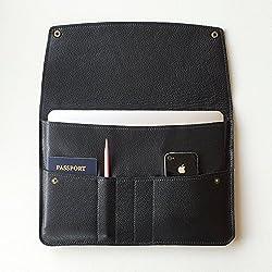 Chalk Factory Full Grain Leather Portable Sleeve/ Bag/ Slipcase for Acer Gateway NE 572 NX.Y34SI.002 15.6-inch Laptop #FLP (Black)
