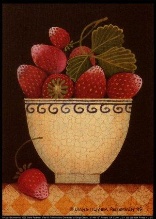 Cup o' Strawberries Art Poster Print by Diane Pedersen, 6x8