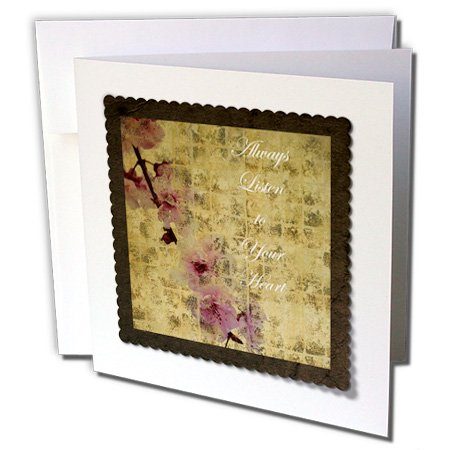 PS Inspirations - Listen To Your Heart Inspired Cherry Blossom Floral - 1 Greeting Card with envelope (gc_63428_5)