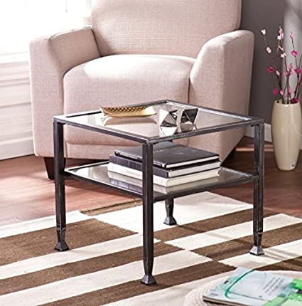 Wildon Home Small Contemporary Metal and Glass Top Coffee Table - It Has Beautiful Black Finish and Unique Design. This Small Coffee Table Is the Perfect Addition to Every Corner in You Living Room, Dining Room, Bedroom or Office. The Square Coffee Table