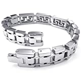 KONOV Jewelry Mens Stainless Steel Bracelet, Classic Link Bangle, Silver