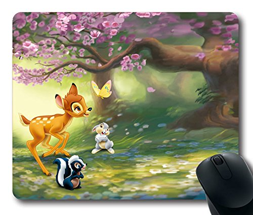 Custom-Attractive-Mouse-Pad-with-Bambi-1942-Thumper-Flower-Butterfly-Friends-Non-Slip-Neoprene-Rubber-Standard-Size-9-Inch220mm-X-7-Inch180mm-X-18-Inch3mm-Desktop-Mousepad-Laptop-Mousepads-Comfortable