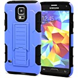 S5 hülle,HOOMIL® Samsung Galaxy S5 Dropdown-beweis stoßfest Handy Schutzhülle Weich Silikon Dual Layer Holster Armor Case mit Ständer und Gürtelclip hülle für Samsung Galaxy S5 SV i9600 (Blau)