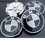 4 BMW Black Carbon Fibre Alloy Wheel Centre Caps Hub Cover Badges Emblem / 4 CENTRES ROUES CACHES JANTES BMW (...