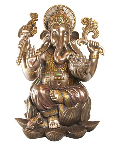 Large Detailed Cold Cast Bronze Ganesh Statue, 24 Inches