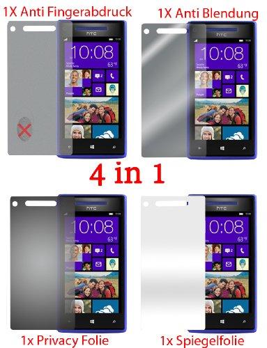 Pellicola protettiva per HTC 8X 8 X (4 pezzi) - pellicola trasparente di protezione frontale. Specchio, trasparente, anti impronta digitale, privacy