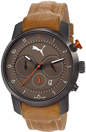 Puma Time PU103341002's Watch Quartz Chronograph Stopwatch Luminous hands and Leather Strap-Brown