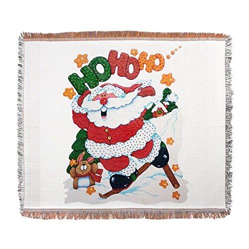 Woven Blanket Merry Christmas Santa Claus Skiing (Decorative Deck Fringe)