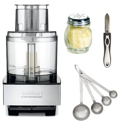 Today Sale Cuisinart DFP-14BCN 14-Cup Food Processor (Brushed Stainless Steel) + 4-Piece Set Steel Measuring Spoons + Vegetable Peeler Sideways Stainless Steel Finish + Cheese and Spice Shaker (Glass Finish)