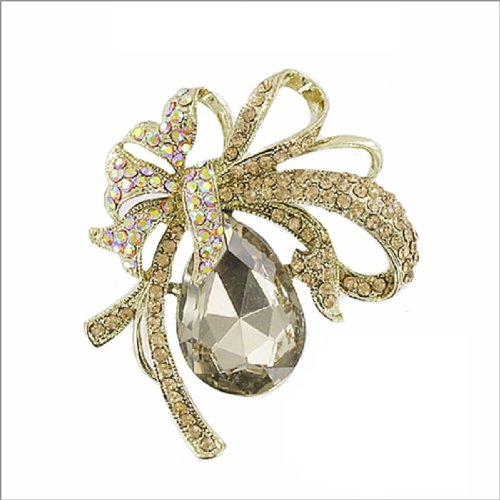 Teardrop Glass Stone W Ribbon Design Pin #039859