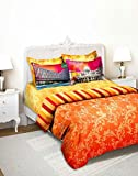 Tangerine Indie Tadka Kolkata 210 TC Cotton Double Bedsheet with 4 Pillow Covers - King Size, Multicolour