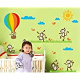 Oren Empower Playing Monkeies Vinyl Large Wall Sticker For Kids Room (Wall Covering Area - 138(w) X 89(h) Cm)