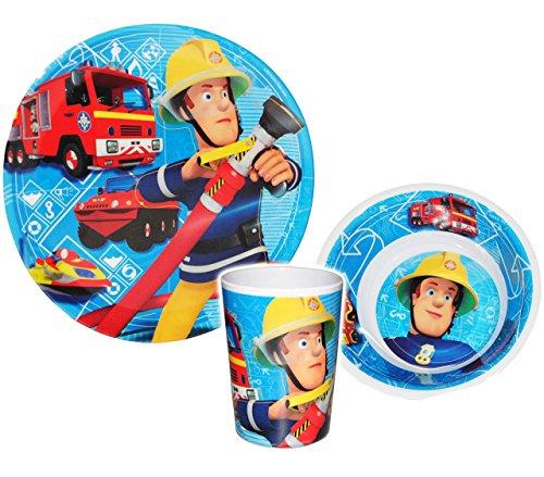 3-tlg-Geschirrset-Feuerwehrmann-Sam-Geschirr-aus-Melamin-Trinkbecher-Teller-Mslischale-Suppenschale-Frhstcksset-Kindergeschirr-Jungen-Auto-Melamingeschirr-Feuerwehr-Rettung-Feuerwehren-Lschen-Feuerweh