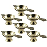 Set Of 6 - Handmade Indian Puja Brass Oil Lamp - Diya Lamp Engraved Design - 2 X 4.5 X 1.4 Inch