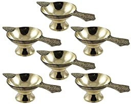 Set of 6 - Handmade Indian Puja Brass Oil Lamp - Diya Wick Lamp Night Light Candle -2 x 4.5 x 1.4 Inch