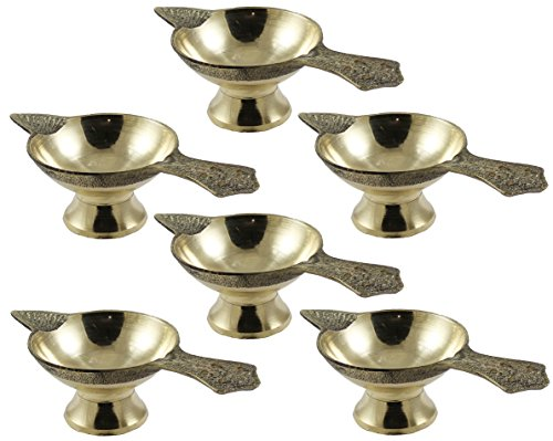 Set of 6 - Handmade Indian Puja Brass Oil Lamp - Diya Wick Lamp Liquid Candle 1.3 x 4.5 x 2 Inch