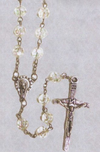 Rosary - 7mm Plastic Beads - 23in. Chain - IMPORTED FROM ITALY, Clear Beads