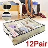 Periea Underbed Shoe Storage Organiser (holds 3-12 pairs) - strong storage box solution with lid - (Orange) Sami