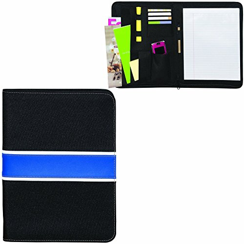 Deluxe Eco Friendly Zippered Black With Blue Leather Portfolio By BAGS FOR LESSTM