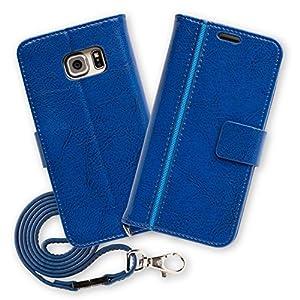 Hy+ Galaxy S6 edge(ギャラクシーS6エッジ) SC-04G SCV31 本革レザーケース 手帳型 (ネックストラップ、カードポケット、スタンド機能付き) ブルー