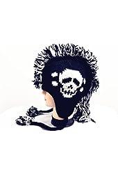 Skull Skeleton Mohawk Knit Braided Winter Beanie Cap Hat-White & Black