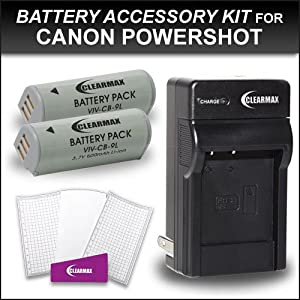 2 Pack Canon NB-9L Replacement Battery and Charger Kit for Canon PowerShot SD4500IS SD4500 Elph 510 HS Elph 520 HS, Elph 530 HS, Ixus 500 HS, Ixus 1100 HS Digital Camera Includes 2 Replacement NB-9L Lithium-Ion Battery + Ac/dc Rapid Travel Charger + LCD S