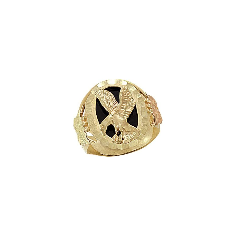 2696ba66ef59e Black Hills Gold Onyx Eagle Mens Ring on PopScreen