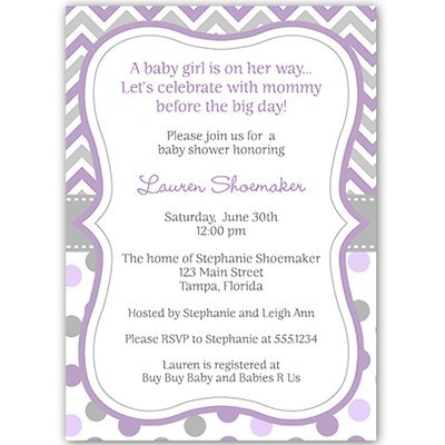 Baby Shower Invitations, Lavender, Purple, Chevron, Stripes, Polka Dots, Its a Girl, 10 Custom Printed Invites with Envelopes, FREE Shipping, FREE Shipping (Purple Baby Shower Invites compare prices)