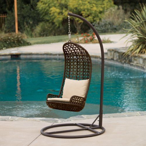 Brinkley Outdoor Brown Wicker Swinging Chair photo