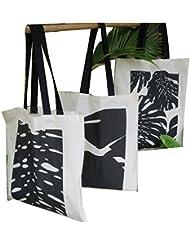 "Cotton Tote Bag: 15"" X 17"" : Leaves 1 + 2 + 3: Set Of Three"