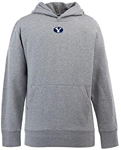 Brigham Young YOUTH Boys Signature Hooded Sweatshirt (Grey) by Antigua