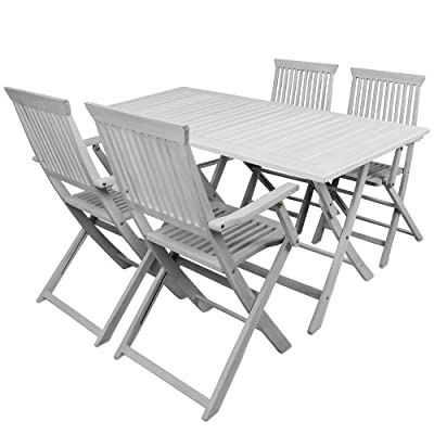 Wooden Garden Dining Table Chairs Set Made of Tropical Acacia Hardwood WHITE (1xTable+4xChairs)