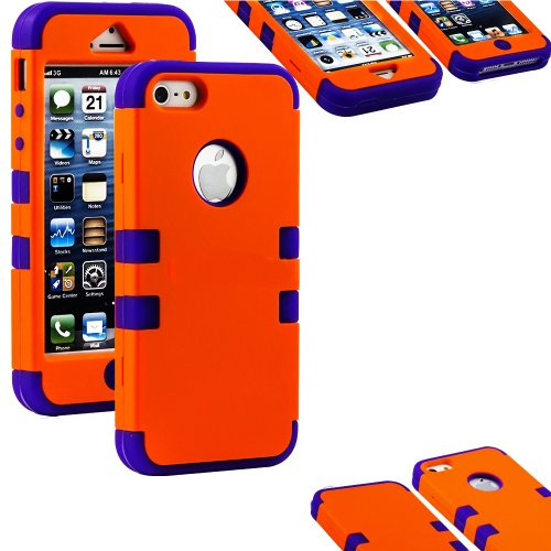 Mylife Plum Purple And Bright Orange - Matte Color Series (Neo Hypergrip Flex Gel) 3 Piece Case For Iphone 5/5S (5G) 5Th Generation Smartphone By Apple (External 2 Piece Fitted On Hard Rubberized Plates + Internal Soft Silicone Easy Grip Bumper Gel)