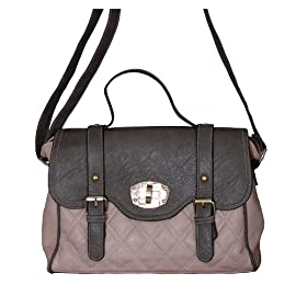 Quilted Stitch Fashion Satchel Handbag Nude Pink & Grey