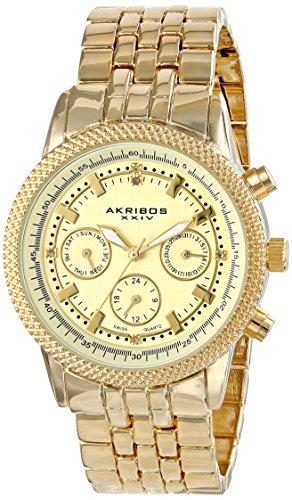Akribos XXIV Women's Lady Diamond Analog Display Swiss Quartz Gold Watch
