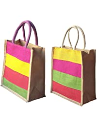 Style And Culture Jute Bag Combo Pack Of 2 Pcs For Multi Purpose Use- Lunch Bag, Shopping Bag, Gift Bag (Color-Multi)
