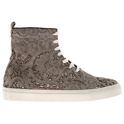 Chaussures de tennis, Diamond Gris, cuir véritable, Myako, Made in Italy