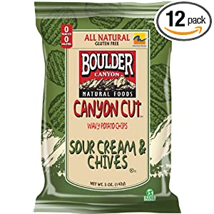 Boulder Canyon Canyon Cut Chips, Sour Cream & Chives, 5-Ounce Bags (Pack of 12)