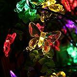 Salcar 5 Meter Solar LED Lichterkette 20 bunten Schmetterlinge Deko Beleuchtung für Weihnachten