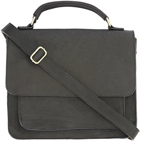 Leather Messenger Laptop Bag With Adjustable Shoulder Strap (Black) (Messenger Bag Jack Bauer compare prices)