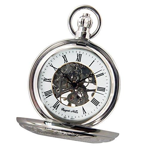 Regent Hills Vintage Silver Mechanical Half Hunter Skeleton Pocket Watch With Chain 56A66Cp-W2