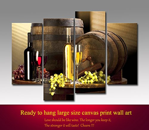 Grape and Wine Canvas Wall Art- Framed Wine Canvas Print Art for Kitchen, Bar, Restaurant Decoration-Nuolanart-P4S001 (Grapes Decoration For The Kitchen compare prices)